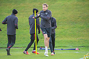 Club captain, Christophe Berra (#6) of Heart of Midlothian training, ahead of the visit of Rangers in the Scottish Premiership on 1st December 2018, at Oriam Sports Performance Centre, Riccarton, Scotland on 30 November 2018.