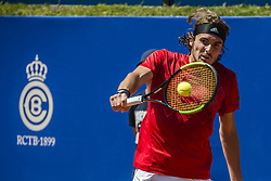 April 27, 2018 - Barcelona, Catalonia, Spain - STEFANOS TSITSIPAS (GRE) returns the ball to Dominic Thiem (AUT) in their quarter final of the 'Barcelona Open Banc Sabadell' 2018. Tsitsipas won 6:3, 6:2 (Credit Image: © Matthias Oesterle via ZUMA Wire)