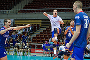 Jenia Grebennikov from France celerates with his team mates victory after the 2013 CEV VELUX Volleyball European Championship match between France and Slovakia at Ergo Arena in Gdansk on September 20, 2013.<br /> <br /> Poland, Gdansk, September 20, 2013<br /> <br /> Picture also available in RAW (NEF) or TIFF format on special request.<br /> <br /> For editorial use only. Any commercial or promotional use requires permission.<br /> <br /> Mandatory credit:<br /> Photo by &copy; Adam Nurkiewicz / Mediasport