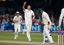 England's James Anderson celebrates the wicket of Pakistan's Faheem Ashraf during day two of the First NatWest Test Series match at Lord's, London.