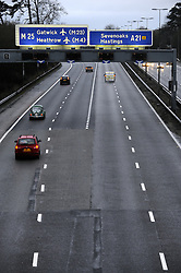 © Licensed to London News Pictures. 23/12/2011..No Christmas Traffic on the M25 at Junction 5 today at 4pm.An unusually empty M25 at Junction 5 today as people have already headed home in the early afternoon for Christmas..Photo credit : Grant Falvey/LNP