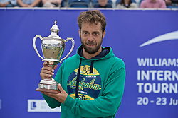 LIVERPOOL, ENGLAND - Sunday, June 23, 2019: Paulo Lorenzi (ITA) with the Boodle & Dunthorne Trophy after winning the Men's Final during Day Four of the Liverpool International Tennis Tournament 2019 at the Liverpool Cricket Club. Lorenzi beat Robert Kendrick (USA) 7-6, 6-2. (Pic by David Rawcliffe/Propaganda)