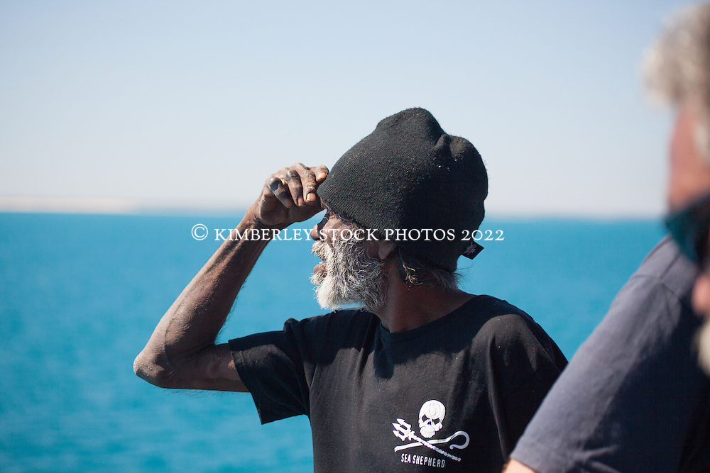 Goolarabooloo traditional owner Richard Hunter looks for whales onboard Sea Shepherd's Steve Irwin during Operation Kimberley Minimbii.