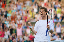 LONDON, ENGLAND - Monday, June 30, 2008: Andy Murray (GBR) celebrates during his marathon men's singles fourth round victory on day seven of the Wimbledon Lawn Tennis Championships at the All England Lawn Tennis and Croquet Club. (Photo by David Rawcliffe/Propaganda)