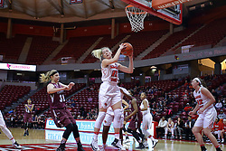 29 January 2017: Millie Stevens grabs the loose ball during an College Missouri Valley Conference Women's Basketball game between Illinois State University Redbirds the Salukis of Southern Illinois at Redbird Arena in Normal Illinois.