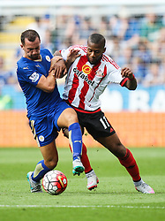 Jeremain Lens of Sunderland (R) and Daniel Drinkwater of Leicester City in action  - Mandatory byline: Jack Phillips/JMP - 07966386802 - 08/08/2015 - SPORT - FOOTBALL - Leicester - King Power Stadium - Leicester City v Sunderland - Barclays Premier League