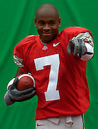 Buckeyes' sophomore and Heisman Trophy  hopeful Ted Ginn Jr. hams it up for a video camera during taping for the scoreboard crew at Ohio Stadium.