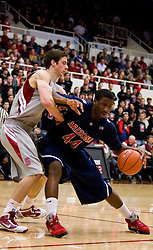 February 27, 2010; Stanford, CA, USA;  Arizona Wildcats forward Solomon Hill (44) is guarded by Stanford Cardinal forward Jack Trotter (50) during the first half at Maples Pavilion.  Arizona defeated Stanford 71-69.