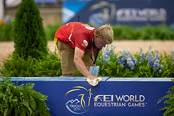 Podest<br /> Tryon - FEI World Equestrian Games™ 2018<br /> Siegerehrung Vorbereitung<br /> Voltigieren Kür/Freestyle Pas de Deux Finale<br /> 20. September 2018<br /> © www.sportfotos-lafrentz.de/Stefan Lafrentz