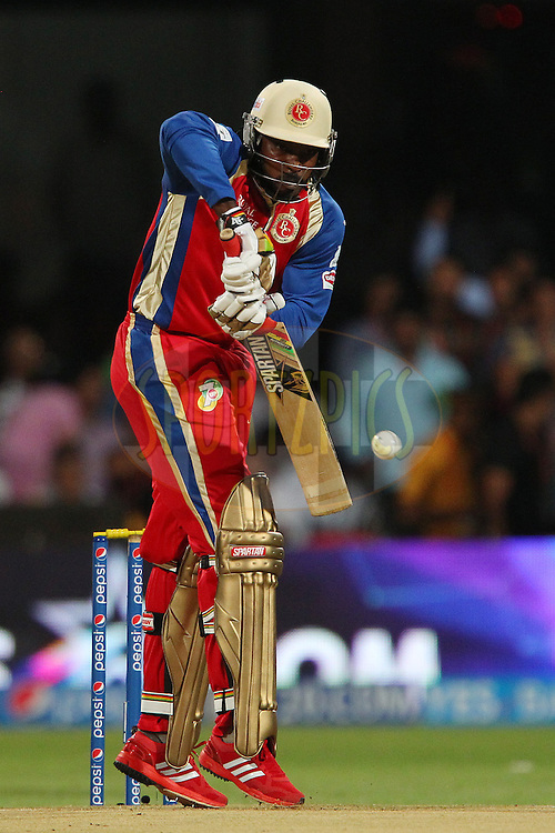 Chris Gayle of the Royal Challengers Bangalore during match 24 of the Pepsi Indian Premier League Season 2014 between the Royal Challengers Bangalore and the Sunrisers Hyderabad held at the M. Chinnaswamy Stadium, Bangalore, India on the 4th May  2014<br /> <br /> Photo by Ron Gaunt / IPL / SPORTZPICS<br /> <br /> <br /> <br /> Image use subject to terms and conditions which can be found here:  http://sportzpics.photoshelter.com/gallery/Pepsi-IPL-Image-terms-and-conditions/G00004VW1IVJ.gB0/C0000TScjhBM6ikg