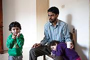 2 Febbraio 2016, Milena, Sicilia, Italia - Sayed Yousof Hussaini, 29 anni con i suoi figli.