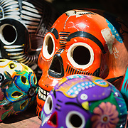 Coloufully painted skull souvenirs in Mexico