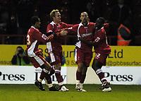 Photo: Jonathan Butler.<br />Swindon Town v Carlisle United. The FA Cup. 11/11/2006.<br />Christian Roberts celebrates scoring Swindon second.