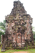 Stone carvings of deities on Tower B4 one of the Cham Temple ruins at the My Son Sanctuary, Quang Nam Province, Vietnam, Southeast Asia