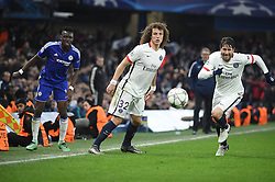 09.03.2016, Stamford Bridge, London, ENG, UEFA CL, FC Chelsea vs Paris Saint Germain, Achtelfinale, Rueckspiel, im Bild traore bertrand, david luiz, maxwell scherrer // during the UEFA Champions League Round of 16, 2nd Leg match between FC Chelsea vs Paris Saint Germain at the Stamford Bridge in London, Great Britain on 2016/03/09. EXPA Pictures © 2016, PhotoCredit: EXPA/ Pressesports/ LAHALLE PIERRE<br /> <br /> *****ATTENTION - for AUT, SLO, CRO, SRB, BIH, MAZ, POL only*****
