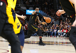 April 25, 2018 - Cleveland, OH, USA - The Cleveland Cavaliers' LeBron James passes the ball to Kevin Love  against the Indiana Pacers in the third quarter in Game 5 on Wednesday, April 25, 2018, at Quicken Loans Arena in Cleveland. The Cleveland Cavaliers won, 98-95, for a 3-2 lead in the first-round NBA playoff series. (Credit Image: © Leah Klafczynski/TNS via ZUMA Wire)