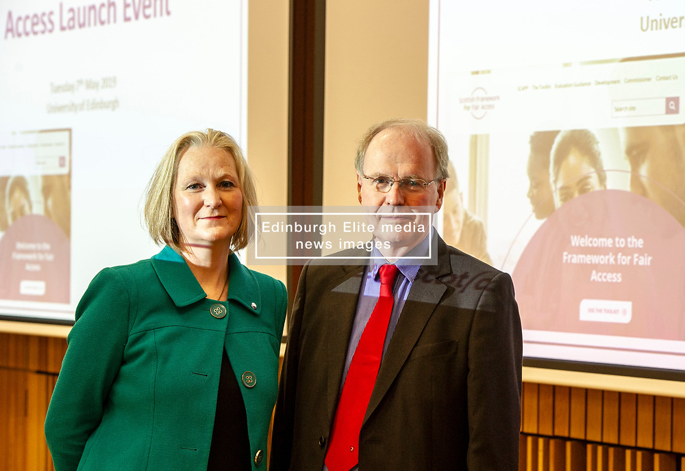 Pictured: Karen Watt, Chief Executive Officer, Scottish Funding Council and Professor Sir Peter Scott,<br /><br />The Commissioner for Fair Access, Professor Sir Peter Scott, launched the framework, realising a key recommendation from the Commission on Widening Access.<br /><br /> Ger Harley | EEm 7 May 2019