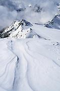 Windswept ridge in the Otztal Alps on the Austria - Italy border.