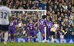 LONDON, ENGLAND - Tuesday, October 27, 2009: Everton's goalkeeper Tim Howard is finally beaten by Tottenham Hotspur's Robbie Keane for the second goal after saving his penalty during the League Cup 4th Round match at White Hart Lane. (Photo by David Rawcliffe/Propaganda)