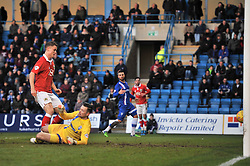 Bristol City's Matt Smith scores his second of the game to make it 0 - 2 - Photo mandatory by-line: Dougie Allward/JMP - Mobile: 07966 386802 - 28/12/2014 - SPORT - football - Gillingham - Priestfield Stadium - Bristol City v Gillingham - Sky Bet League One