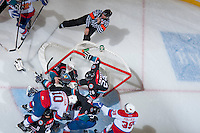 KELOWNA, CANADA - NOVEMBER 9: Jordon Cooke #30 of the Kelowna Rockets defends the net against the Edmonton OIl Kings on November 9, 2013 at Prospera Place in Kelowna, British Columbia, Canada.   (Photo by Marissa Baecker/Shoot the Breeze)  ***  Local Caption  ***