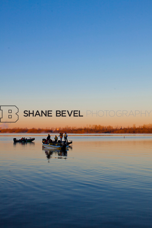 2/26/12 8:00:37 AM -- during the 2012 Bassmaster Classic on the Red River in Shreveport, La. ..Photo by Shane Bevel.Boats launch on the Red River. .Boats launch on the Red River.