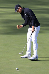 April 8, 2018 - Augusta, GA, USA - Jordan Spieth birdies fifteen to go 13 under during the final round of the Masters at Augusta National Golf Club on Sunday, April 8, 2018, in Augusta, Ga. (Credit Image: © Curtis Compton/TNS via ZUMA Wire)