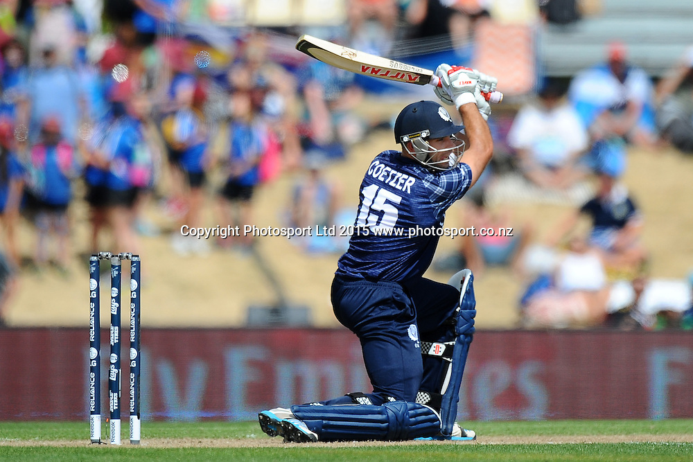 Scotland player Kyle Coetzer during the 2015 ICC Cricket World Cup match between Bangladesh v Scotland. Saxton Oval, Nelson, New Zealand. Thursday 5 March 2015. Copyright Photo: Chris Symes / www.photosport.co.nz
