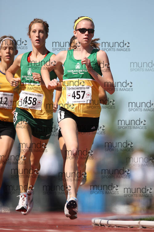 Sherbrooke, Quebec ---08/08/09---  Danielle Thiel of Saskatchewan competes in the 1500 metres at the 2009 Legion Canadian Youth Track and Field Championships in Sherbrooke, Quebec, August 10, 2009..HO/ Athletics Canada (credit should read GEOFF ROBINS/Mundo Sport Images/ Athletics Canada)..