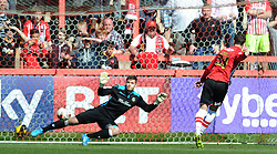 Exeter City's Ryan Harley scores his sides goal - Photo mandatory by-line: Harry Trump/JMP - Mobile: 07966 386802 - 06/04/15 - SPORT - FOOTBALL - Sky Bet League Two - Exeter City v Newport County - St James Park, Exeter, England.