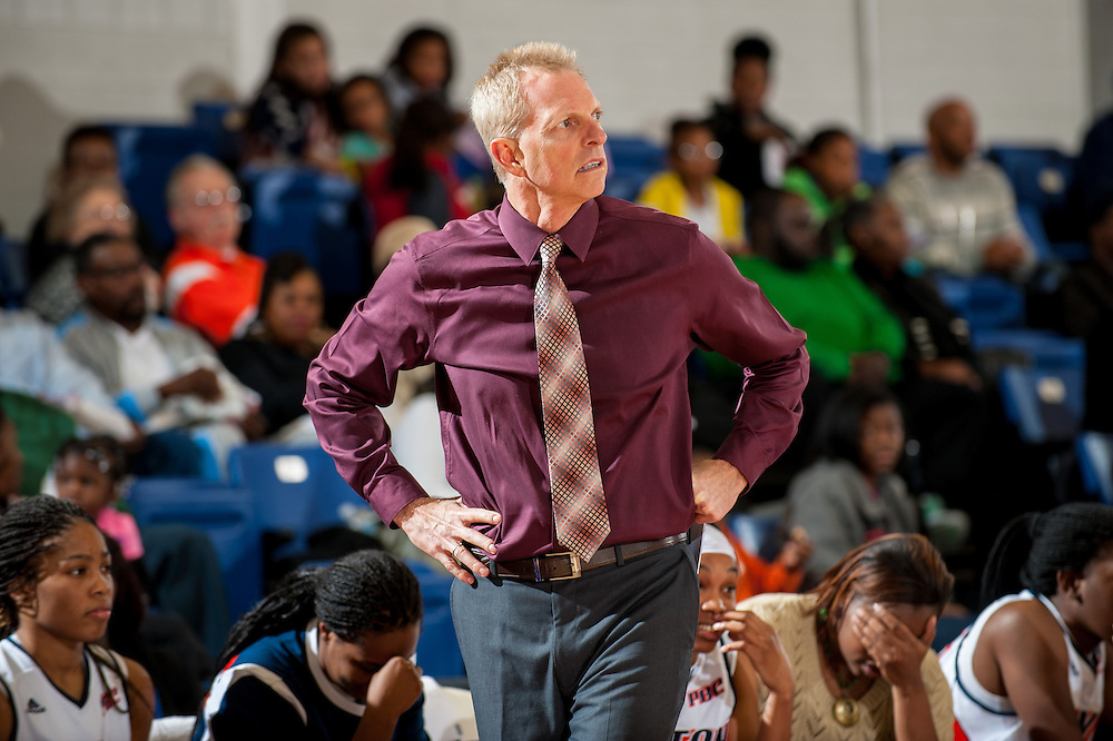 Nov. 30, 2013; Morrow, GA, USA; Clayton State University's women's head coach Dennis Cox during the game against Tusculum University at CSU. CSU won 89-61. Photo by Kevin Liles / kevindliles.com