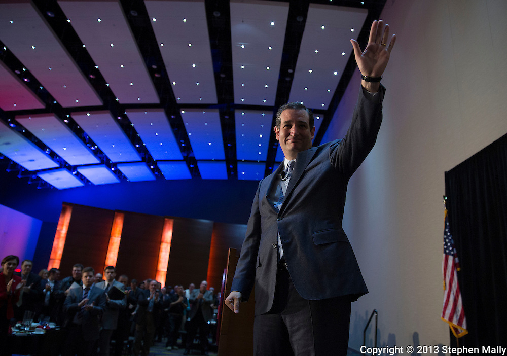 DES MOINES, IA - OCTOBER 25, 2013: Senator Ted Cruz, Republican of Texas, waves to the crowd after speaking at the Iowa GOP Ronald Reagan Dinner at the Iowa Events Center - Community Choice Credit Union Convention Center in Des Moines, Iowa.