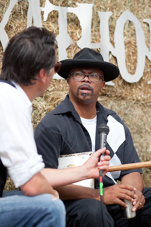 Reverend KM Williams, interviewed by Greg Vandy of KEXP. Pickathon 2012 at Pendarvis Farm in Happy Valley, OR. Photo by Jason Quigley