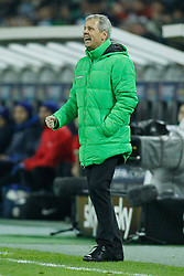 11.12.2014, Borussia Park, Moenchengladbach, GER, UEFA EL, Borussia Moenchengladbach vs FC Zuerich, Gruppe A, im Bild Trainer Lucien Favre (Borussia Moenchengladbach mit geballter Faust // during the UEFA Europaleague Group A match between Borussia Moenchengladbach and FC Zuerich at the Borussia Park in Moenchengladbach, Germany on 2014/12/11. EXPA Pictures &copy; 2014, PhotoCredit: EXPA/ Eibner-Pressefoto/ Schueler<br /> <br /> *****ATTENTION - OUT of GER*****