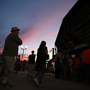 NEW YORK, NEW YORK - July 02: Fans in the food court at sunset during the Chicago Cubs Vs New York Mets regular season MLB game at Citi Field on July 02, 2016 in New York City. (Photo by Tim Clayton/Corbis via Getty Images)
