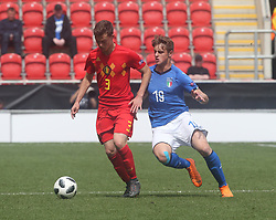 May 17, 2018 - United Kingdom - L-R Siebe Vandermeulen of Belgium Under 17 and Lorenzo Colombo of Italy Under 17.during the UEFA Under-17 Championship Semi-Final match between Italy U17s against Belgium U17s at New York Stadium, Rotherham United FC, England on 17 May 2018. (Credit Image: © Kieran Galvin/NurPhoto via ZUMA Press)