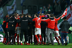 November 12, 2017 - Basel, Switzerland - Switzreland team celebrating the qualification  during the FIFA 2018 World Cup Qualifier Play-Off: Second Leg between Switzerland and Northern Ireland at St. Jakob-Park on November 12, 2017 in Basel, Basel-Stadt. (Credit Image: © Matteo Ciambelli/NurPhoto via ZUMA Press)