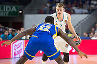 Real Madrid Luka Doncic and Khimki Moscow Charles Jenkins during Turkish Airlines Euroleague match between Real Madrid and Khimki Moscow at Wizink Center in Madrid, Spain. November 02, 2017. (ALTERPHOTOS/Borja B.Hojas)