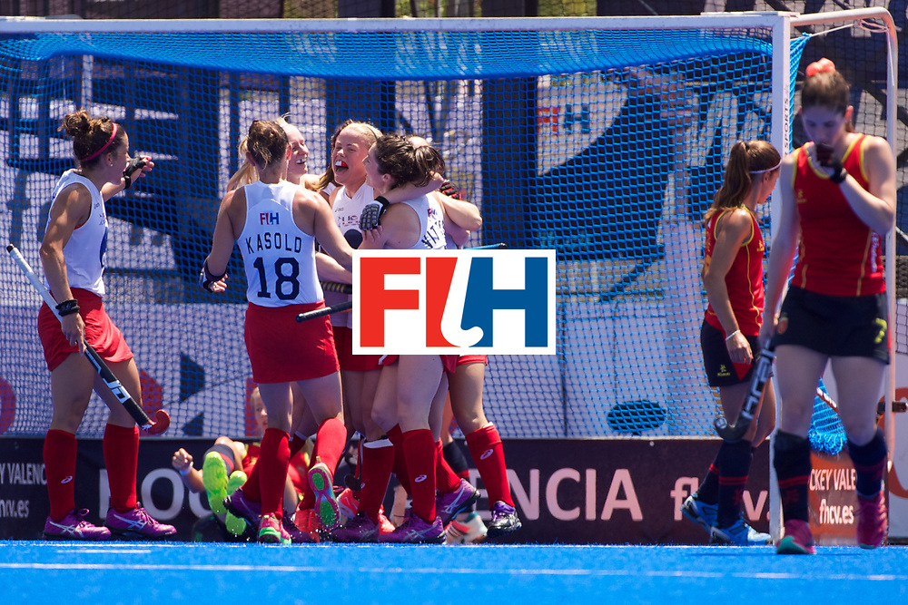 RIO 2016 Olympic qualification, Hockey, Women, match for 5th place, Spain vs United States of America :  team USA celebrates its second goal