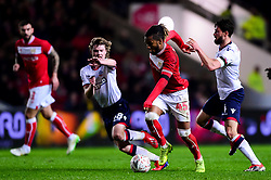 Kasey Palmer of Bristol City is marked by Luca Connell of Bolton Wanderers and Jason Lowe of Bolton Wanderers - Mandatory by-line: Ryan Hiscott/JMP - 25/01/2019 - FOOTBALL - Ashton Gate Stadium - Bristol, England - Bristol City v Bolton Wanderers - Emirates FA Cup fourth round