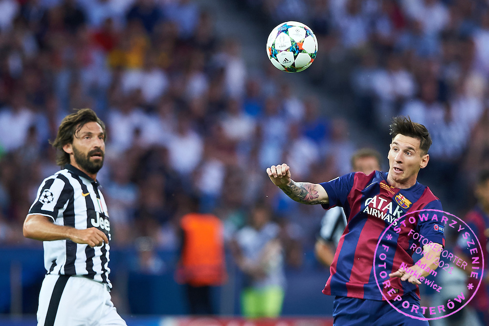 (R) Lionel Messi of FC Barcelona fights for the ball with (L) Andrea Pirlo from Juventus during the 2014/15 UEFA Champions League Final between Juventus and FC Barcelona at Olympiastadion on June 6, 2015 in Berlin, Germany.<br /> Germany, Berlin, June 6, 2015<br /> <br /> Picture also available in RAW (NEF) or TIFF format on special request.<br /> <br /> For editorial use only. Any commercial or promotional use requires permission.<br /> <br /> Adam Nurkiewicz declares that he has no rights to the image of people at the photographs of his authorship.<br /> <br /> Mandatory credit:<br /> Photo by &copy; Adam Nurkiewicz / Mediasport