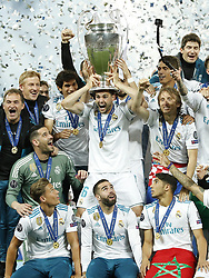 (L-R) goalkeeper Kiko Casilla of Real Madrid, Marcos Llorente of Real Madrid, Jesus Vallejo of Real Madrid, Nacho of Real Madrid with UEFA Champions League trophy, Coupe des clubs Champions Europeens, Daniel Carvajal of Real Madrid, Raphael Varane of Real Madrid, Luka Modric of Real Madrid, Achraf Hakimi of Real Madrid during the UEFA Champions League final between Real Madrid and Liverpool on May 26, 2018 at NSC Olimpiyskiy Stadium in Kyiv, Ukraine
