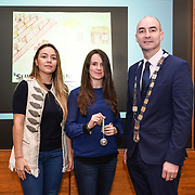 05/03/2019<br /> Award collected on behalf of Alicia Redfern from Scoil Chaitriona, Cappamore, along with Sara Montoya, co-op member of Fairtrade Colombia, and Cllr Daniel Butler, Mayor of the Metropolitan District of Limerick.<br /> <br /> Fairtrade worker Sara Montoya, from a Fairtrade Coffee Co-op in Colombia was the special guest in Limerick City and County Council chamber today at an event to coincide with Fairtrade Fortnight.<br />  <br /> Sara joined Fairtrade supporters from across Limerick and Ireland for the annual initiative, which features a programme of talks and community events aimed at promoting awareness of Fairtrade and Fairtrade-certified products.<br />  <br /> Speaking at the event in Dooradoyle, Sara outlined the success and benefits of the Fairtrade movement in Colombia and how important it is for people in the developed world think of Fairtrade products when shopping.<br />  <br /> This year's campaign 'Create Fairtrade' invites us all to use our imagination and create fairtrade in our lives.<br />  <br /> Young people from across Limerick city and county were also a focus of the event as they displayed their posters, which they created to help change the way people think about trade and the products on our shelves.<br /> Photo by Diarmuid Greene