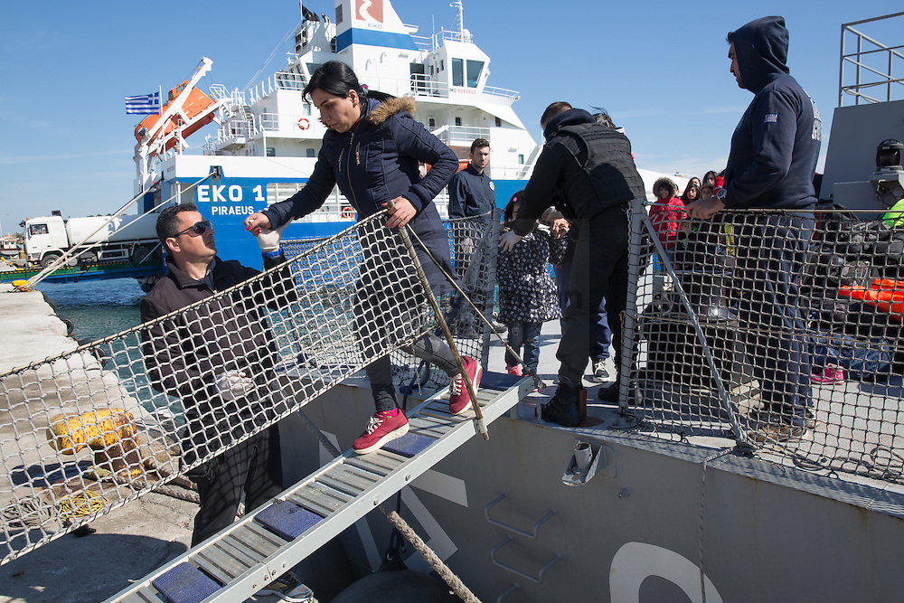 Mytilene, Lesvos, Greece - 07.03.2016      <br /> <br /> The Greek coast guard brings refugees into the port of Mytilene. They pick them up in the sea between Turkey and the Aegean island Lesbos.<br /> <br /> Die griechische Kuestenwache bringt Fluechtlinge in den Hafen von Mytilini. Sie nahmen sie im Meer zwischen der Tuerkei und Lesbos an Bord. <br /> <br /> Foto: Bjoern Kietzmann