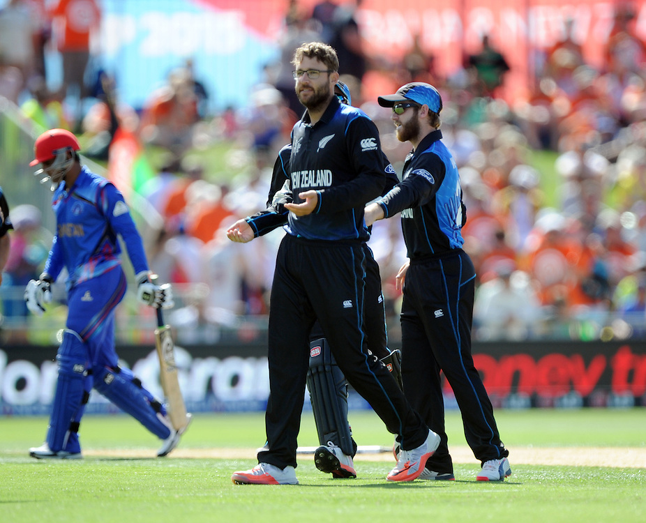 New Zealand's Daniel Vettori after bowling Afghanistan's Usman Ghani for 0 in the ICC Cricket World Cup at McLean Park, Napier, New Zealand, Sunday, March 08, 2015. Credit:SNPA / Ross Setford