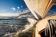 Fall evening sail on S Class Herreshoff Firefly, Newport Pell Bridge