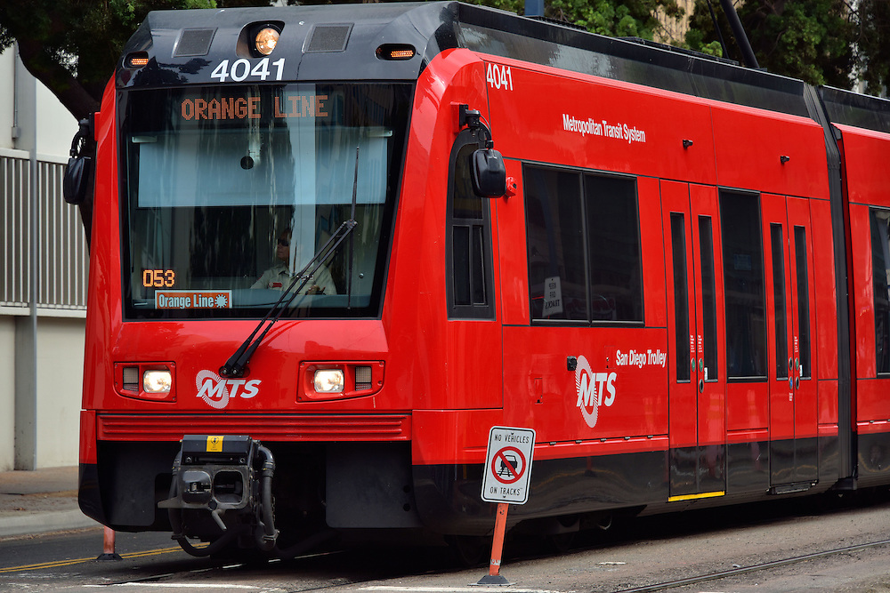 Trolley Light Rail in Downtown San Diego, California<br />