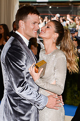 Tom Brady and Gisele Bundchen arriving at The Metropolitan Museum of Art Costume Institute Benefit celebrating the opening of Rei Kawakubo / Comme des Garcons : Art of the In-Between held at The Metropolitan Museum of Art  in New York, NY, on May 1, 2017. (Photo by Anthony Behar) *** Please Use Credit from Credit Field ***