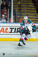KELOWNA, CANADA - FEBRUARY 23: Cal Foote #25 of the Kelowna Rockets passes the puck against the Seattle Thunderbirds  on February 23, 2018 at Prospera Place in Kelowna, British Columbia, Canada.  (Photo by Marissa Baecker/Shoot the Breeze)  *** Local Caption ***