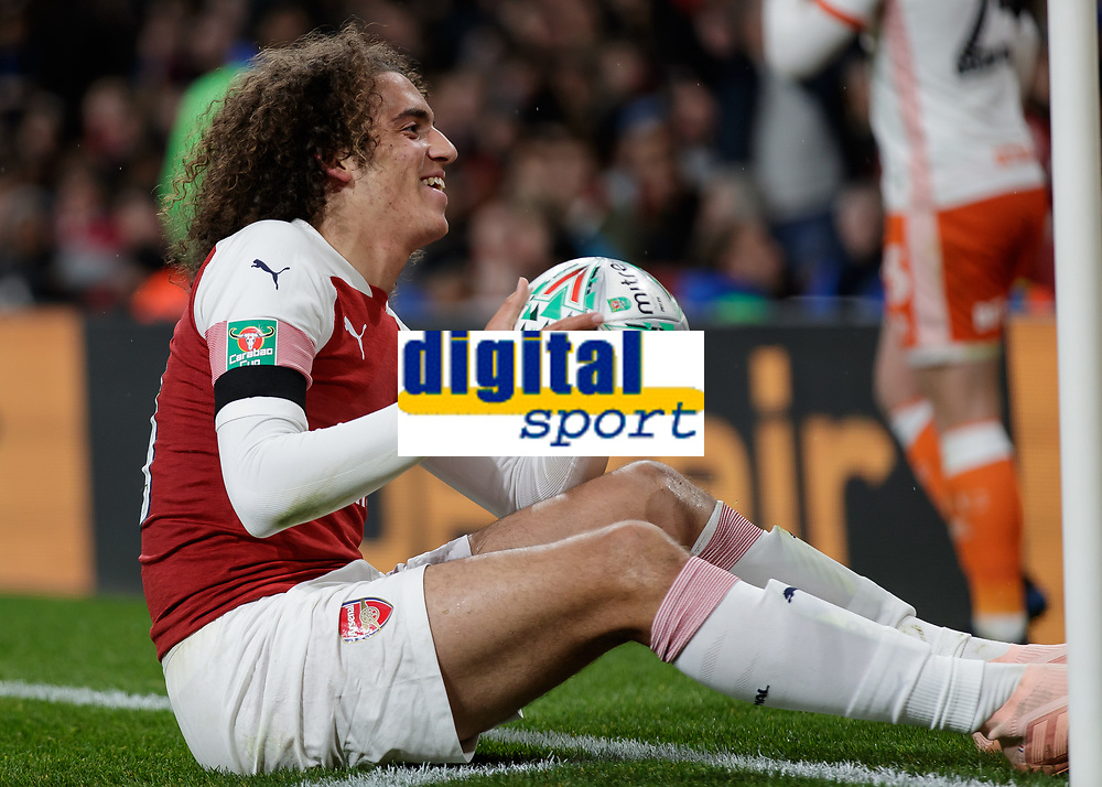 Football - 2018 / 2019 EFL Carabao (League) Cup - Fourth Round: Arsenal vs. Blackpool<br /> <br /> Matteo Guendouzi (Arsenal FC) smiles towards the Blackpool fans after he is fouled in the corner at The Emirates.<br /> <br /> COLORSPORT/DANIEL BEARHAM